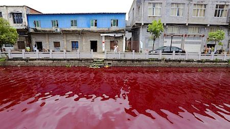 River In China Runs Blood Red