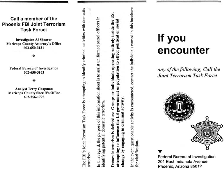 "FBI Anti-""Terrorist"" Pamphlet"