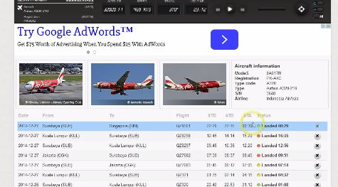 "FlightRADAR24 data on ""Crashed"" Air Asia Airbus A320 flight QZ8501"