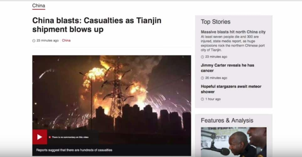 CHINA Explosion: Neferious Activity of the Elite, or just Coincidence?