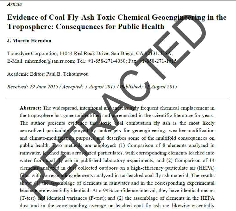 Peer Reviewed Scientific Evidence Exposes Chemtrail As Crime Against Humanity