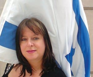 Julie-Burchill-with-Israeli-Flag