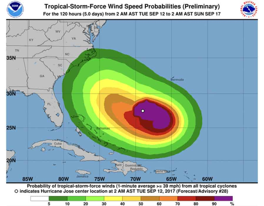 Hurricane Jose: Map shows Jose loop heading for FLORIDA