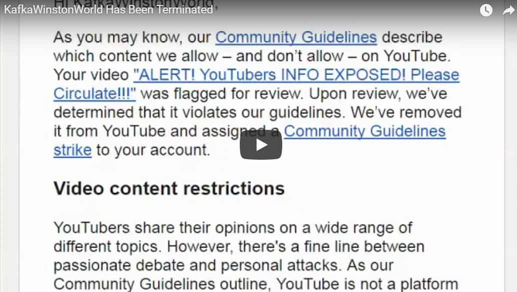 Kafka Winston World Terminated | Youtube Censorship