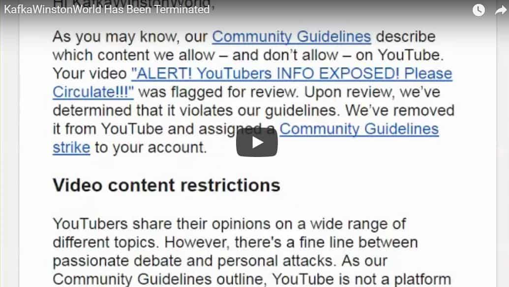 Kafka Winston World Terminated | Youtube Censorship