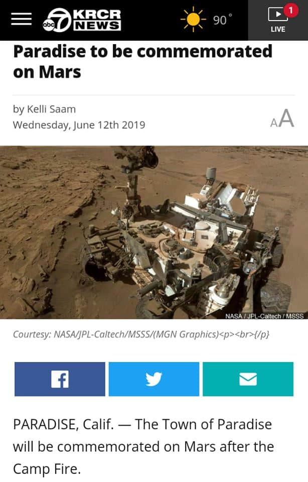 Paradise, CA Commemorated on MARS?